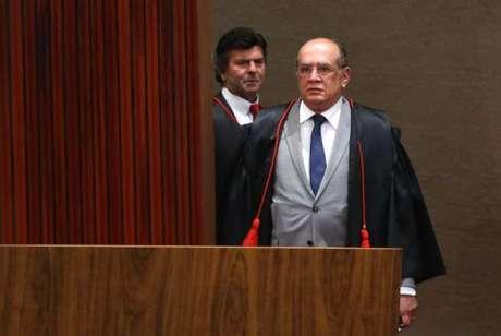 O presidente do TSE, ministro Gilmar Mendes, na retomada do julgamento da ação em que o PSDB pede a cassação da chapa Dilma-Temer