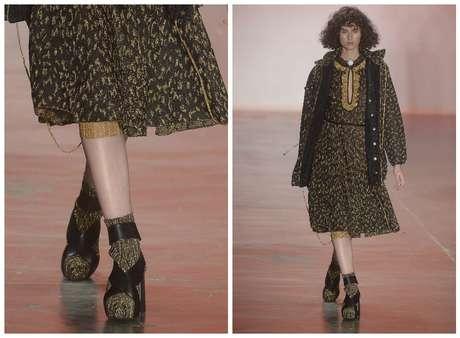 Calçado pesado com tiras e tricô de lurex, da Gig Couture, desfilada no SPFW