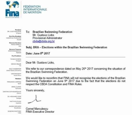 Federação Internacional veta interferência na autonomia das federações nacionais. Entidade enviou carta ao interventor Gustavo Licks avisando que não reconhecerá eleição desta sexta-feira (Foto: Reprodução)
