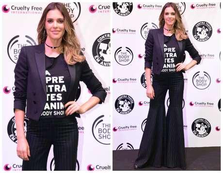 Fernanda Lima aposta em pantalona, camiseta e blazer