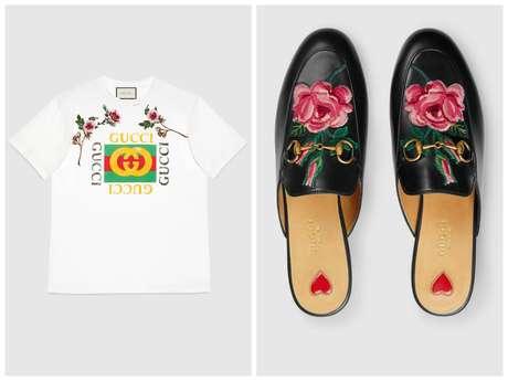 A camiseta e o calçado, ambos da Gucci, somam quase R$ 5,5 mil.