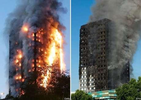 Fogo começou na madrugada e tomou conta do prédio de 24 andares até o amanhecer.