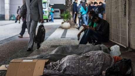 Moradores de rua no Centro de São Paulo