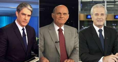 William Bonner, do 'Jornal Nacional', Ricardo Boechat, do 'Jornal da Band', e Celso Freitas, do 'Jornal da Record': notícia ruim atrai audiência