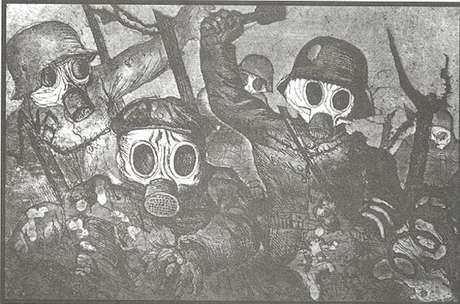 Ofensiva de soldados com máscara contra gás (Otto Dix)