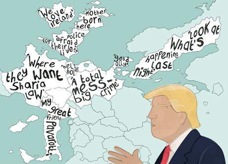 Desenho de Trump sobre um mapa da Europa