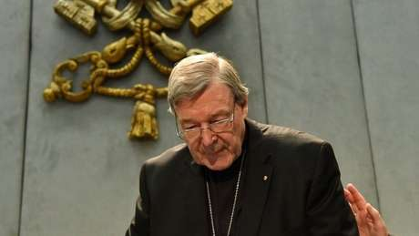 Australian Cardinal George Pell looks on as he makes a statement at the Holy See Press Office, Vatican city on June 29, 2017
