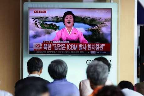 Anúncio de lançamento de míssil na Coreia do Norte