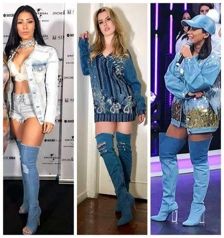 Simaria, Fernanda Keulla e Anitta com botas jeans (Fotos: Reprodução/Instagram)