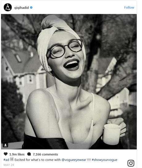 Neste anúncio, Gigi Halid faz propaganda para a revista Vogue