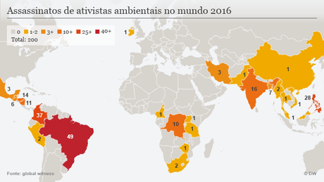 Mapa mostra as mortes de ambientalistas ao redor do mundo