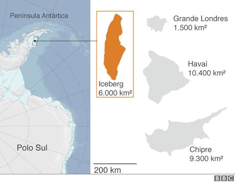 Iceberg recém descolado da Antártida é um dos maiores já registrados