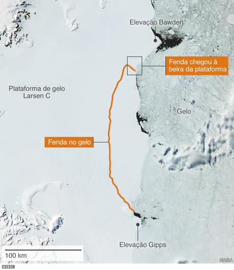 Fenda na plataforma Larsen C já era observada por pesquisadores há anos