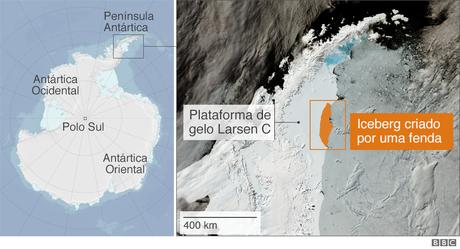 A separação causada pela fenda transformou a paisagem da Península Antártica para sempre