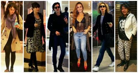 Famosas com casacos e jaquetas (Fotos: AgNews)