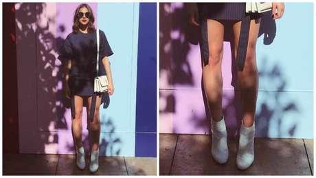 Bruna Marquezine e seu look curto de botas brancas - Fotos: Reprodução/Instagtam/@brumarquezine
