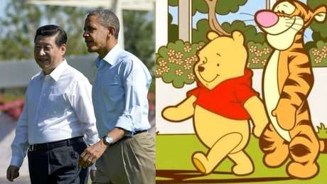Foto composta por Xi Jinping, Barack Obama e personagnes de Winnie the Pooh