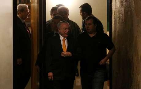 Michel Temer e Rodrigo Maia após jantar na noite de terça-feira