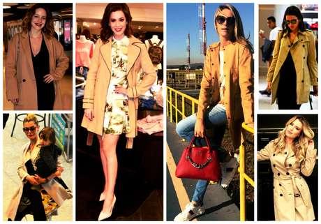 Famosas com o clássico casaco bege (Fotos: AgNews/Reprodução/Instagram)