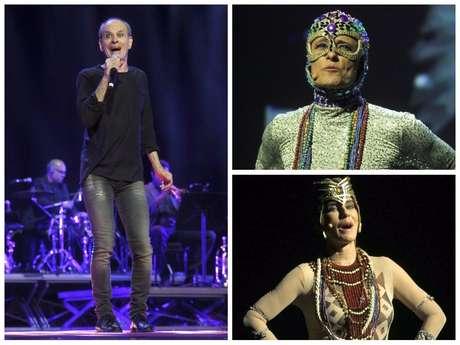 Ney Matogrosso e famosas com fantasias do cantor (Fotos: AgNews)