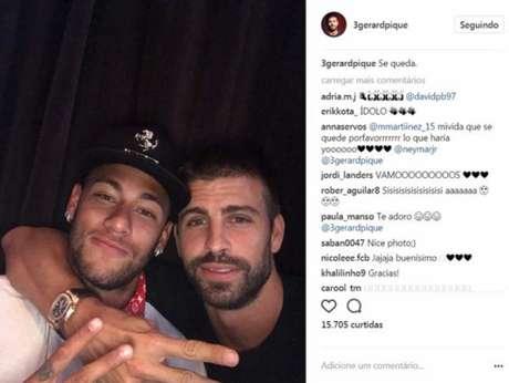 Piqué torce pela permanência de Neymar no Barcelona (Foto: Reprodução / Instagram)