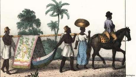 Escravos no Brasil, em pintura de 1835: Darwin cita muitas vezes exemplos claros de crueldade contra negros