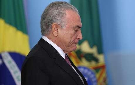 O presidente brasileiro Michel Temer durante evento no Palácio do Planalto