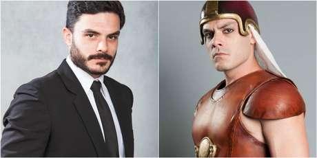 Kiko Pissolato em dois momentos na TV: na pele do motorista Maciel em 'Amor à Vida' e como o general Bakenmut de 'Os Dez Mandamentos'