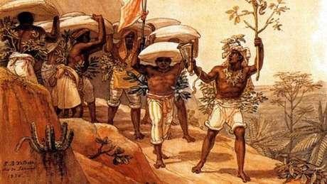 Pintura do francês Jean-Baptiste Debret de 1826 retrata escravos no Brasil