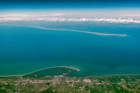 Vista aérea do Lago Erie (EUA)