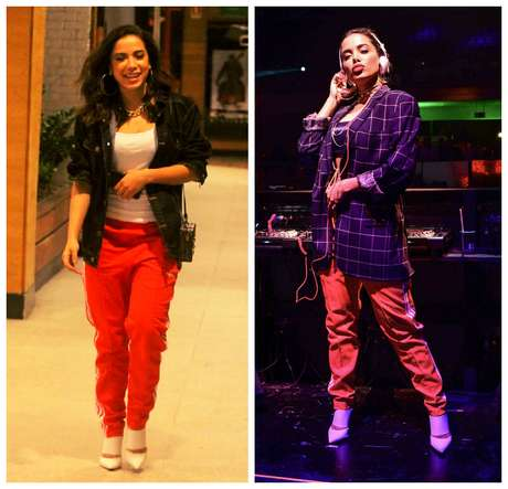 Anitta com a mesma calça e sapato