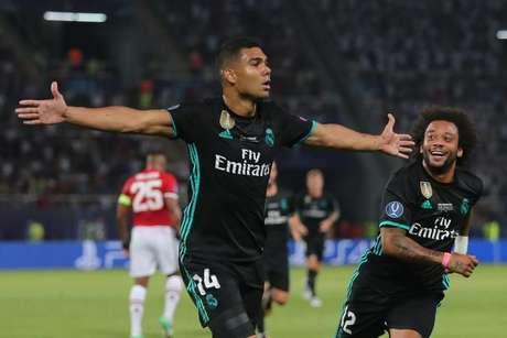 Casemiro comemora gol do Real Madrid contra o Manchester United    8/8/2017     REUTERS/Eddie Keogh