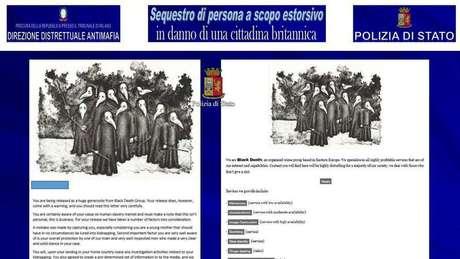 Polícia da Itália divulgou documentos supostamente relacionados à organização criminosa responsável pelo sequestro da modelo
