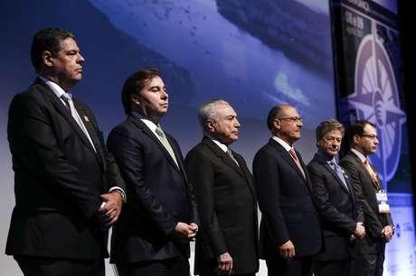 O presidente Michel Temer durante o 27º Congresso e ExpoFenabrave. Participam do encontro o presidente da Câmara dos deputados, Rodrigo Maia, governador Geraldo Alckmin e autoridades.