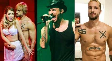 Felipe Mafra em cena de 'Rocky Horror Show', cantando em 'Nas Trilhas Sonoras' e numa selfie na qual se vê o título da música de sua vida tatuado no abdômen