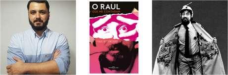 O autor Tiago Bittencourt, a capa do livro e Raul Seixas no especial da Globo 'Plunct, Plact, Zuuum'