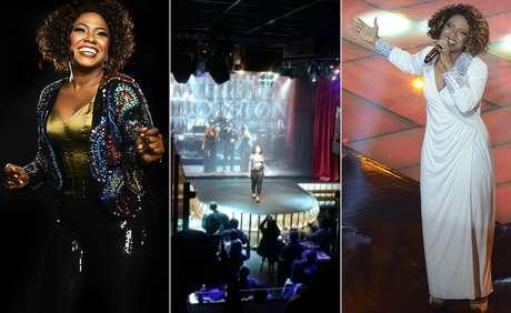 A cantora carioca com figurino do show, no palco do Burlesque Paris 6 e em apresentação no 'The Voice Brasil', em 2012