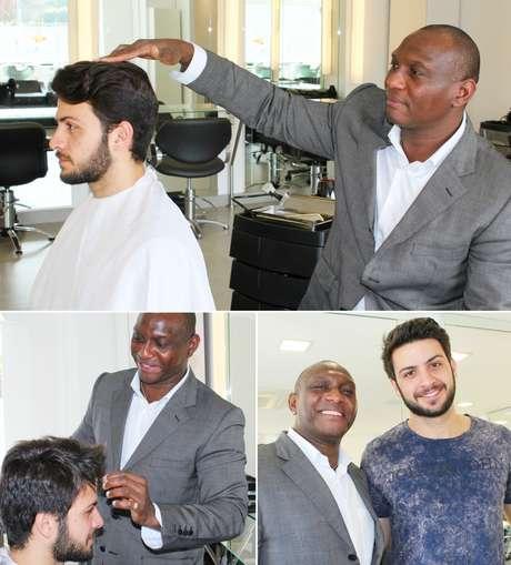 O hairstylist Carlos Jamayka muda o visual do ator Renan Altavista: os homens estão mais preocupados com a aparência