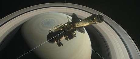Nave espacial Cassini é retratada em ilustração da Nasa 29/8/2017   Divulgação/Nasa
