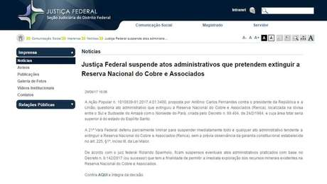 Juiz da 21ª vara do Distrito Federal suspendeu até medidas futuras que tentem extinguir a reserva