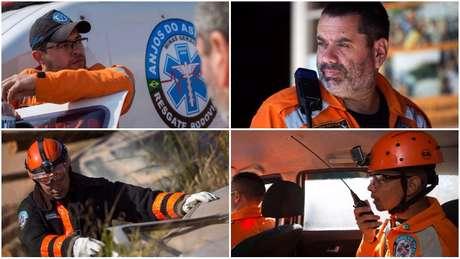 Thales, Claudio, Jefferson e Edmar (em sentido horário, a partir da foto ao alto à esq): dedicação voluntária para atendimento a acidentes em trecho crítico de rodovia
