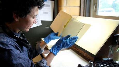Assistente prepara uma chapa de vidro que será escaneada