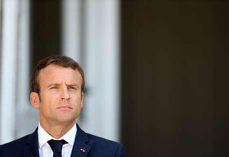 Presidente francês, Emmanuel Macron, durante coletiva de imprensa na Bulgária