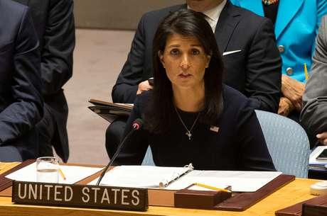 Embaixadora dos EUA Nikki Haley faz discurso na ONU  4/9/2017     REUTERS/Joe Penney