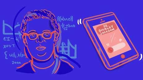 Ilustração de Shirley Jackson e um celular