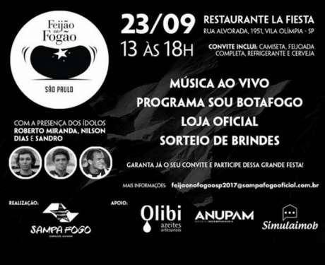 Evento terá a presença dos ex-jogadores Roberto Miranda, Nilson Dias, Sandro (Imagem: Divulgação)