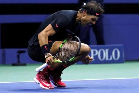 Espanhol Rafael Nadal celebra vitória