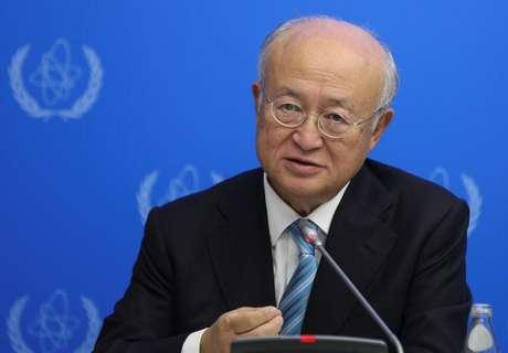 Diretor da agência nuclear da Organização das Nações Unidas (ONU), Yukiya Amano, durante coletiva de imprensa em Astana, no Cazaquistão 29/08/2017 REUTERS/Mukhtar Kholdorbekov
