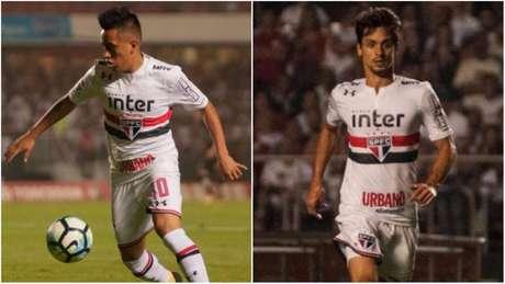 Cueva e Rodrigo Caio foram motivo de polêmica na semana passada (Fotos: Maurício Rummens/Fotoarena/Lancepress!)