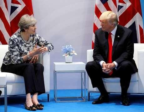 May conversa com Trump em cúpula do G20 em Hamburgo  8/7/2017    REUTERS/Carlos Barria